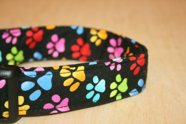 Colorful Paw Prints Dog Collars $15.00