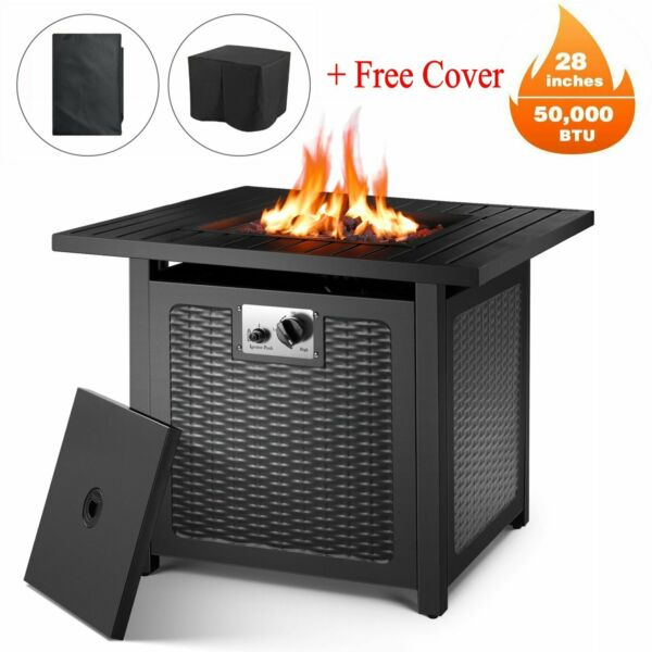 "28"" Square Gas Fire Pit Propane 50000 BTU Fire Pit Table w LidLava RocksCover"