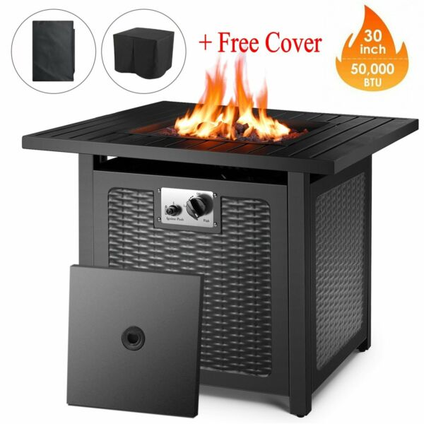 "30"" Square Gas Fire Pit Propane 50000 BTU Fire Pit Table w LidLava RocksCover"