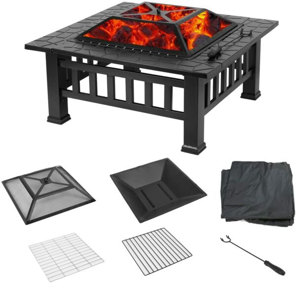 32quot; Square Fire Pit Outdoor Patio Metal Heater Deck Backyard Fireplace Cover US