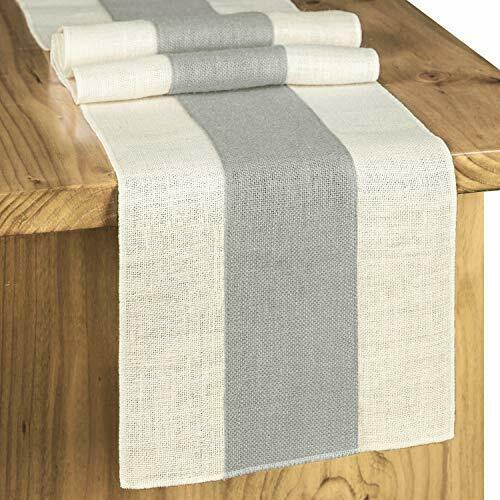 Splicing Burlap Table Runner Rustic 12x72 Inches Light Colour Edge Gray