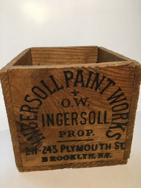 Antique Vintage Old Wood Wooden Shipping Box Crate Postage Stamps Brooklyn NY