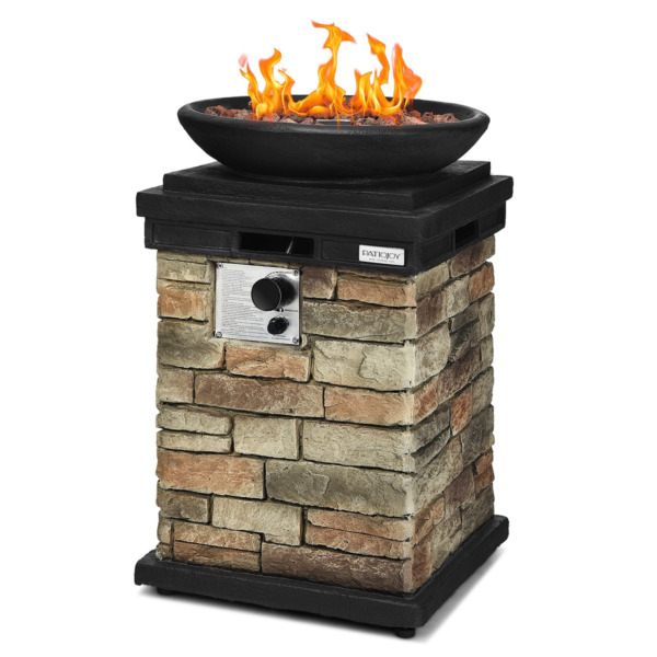 Patio Propane Burning Outdoor Fire Bowl Column W Lava Rocks amp; Cover 40000 BTU
