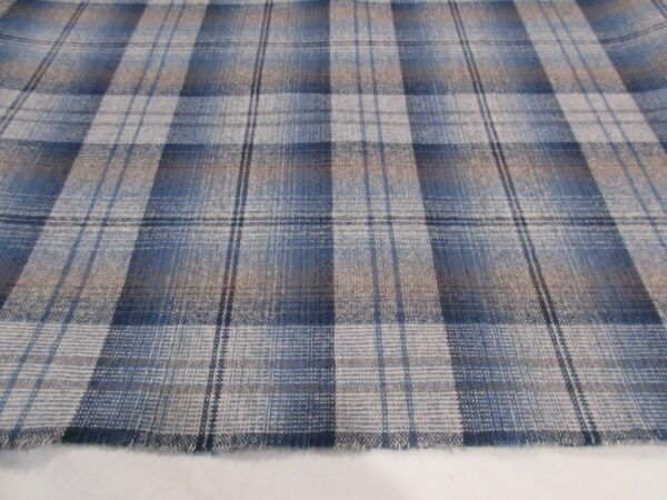 Pendleton Navy Blue and Gray Plaid flannel weight fabric by the yard $12.97