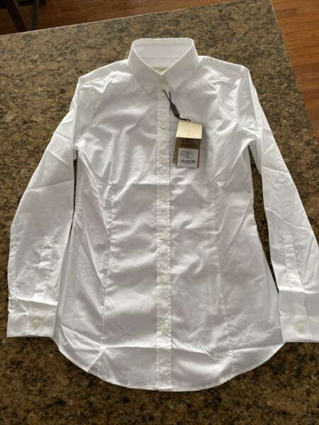 Burberry Women's White Button Up Blouse 4004978 sz. 4 $470 New NWT $129.99