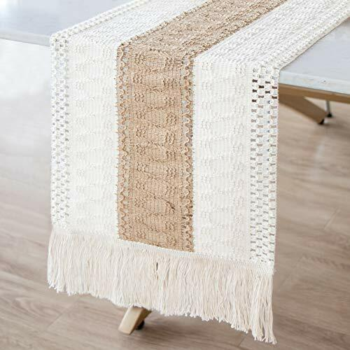 Macrame Table Runner Farmhouse Style Burlap Table Runner Splicing Cotton