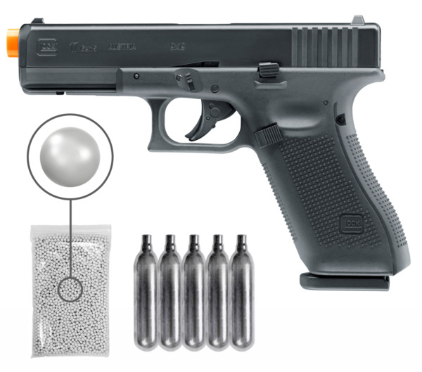 Umarex GLOCK G17 Gen5 C02 Blowback Airsoft Pistol with CO2 Tanks and BBs Bundle