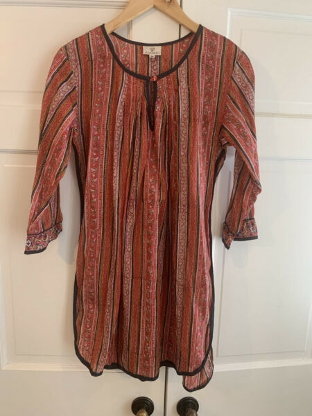 Anokhi Tunic Women's Sz Medium Long Top Floral Cotton Boho EUC