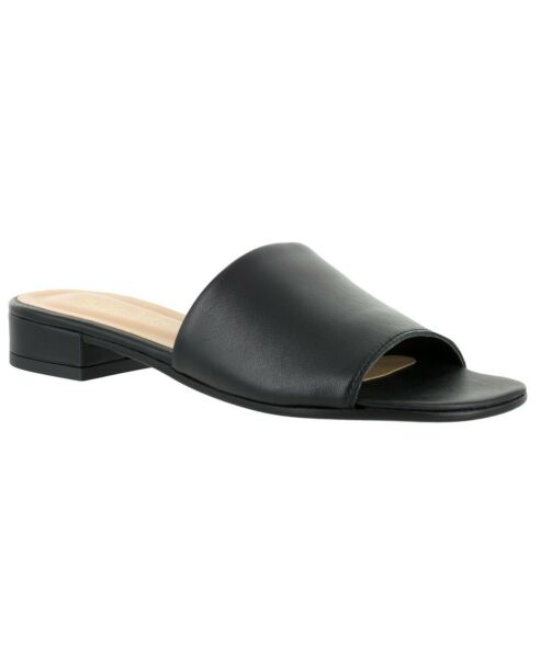 Bella Vita Tes Italy Slide Sandals Black Leather 6M