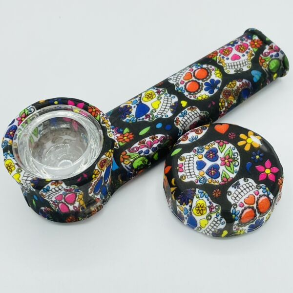 Silicone Smoking Pipe with Glass Bowl amp; Cap Lid Sugar Skulls