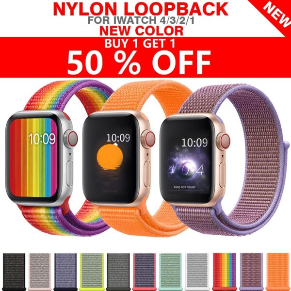 Woven Nylon Band For Apple Watch Sport Loop iWatch Series 4 3 2 1 38 42 40 44mm $3.98