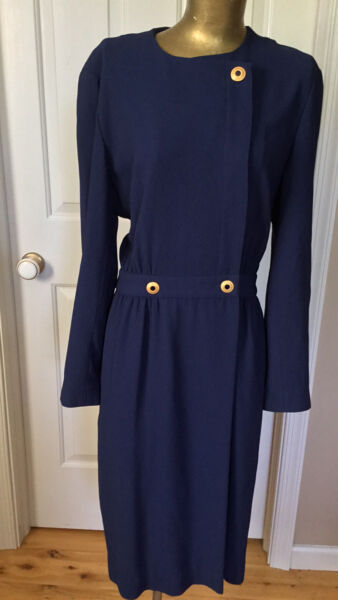 Liz Claiborne Vintage Dresses Navy Wrap Dress Size 10