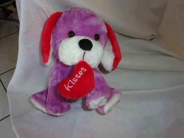 Animal Adventure Sweet Sprouts Plush Purple Dog Red Heart Kisses Valentine 8quot; $69.99