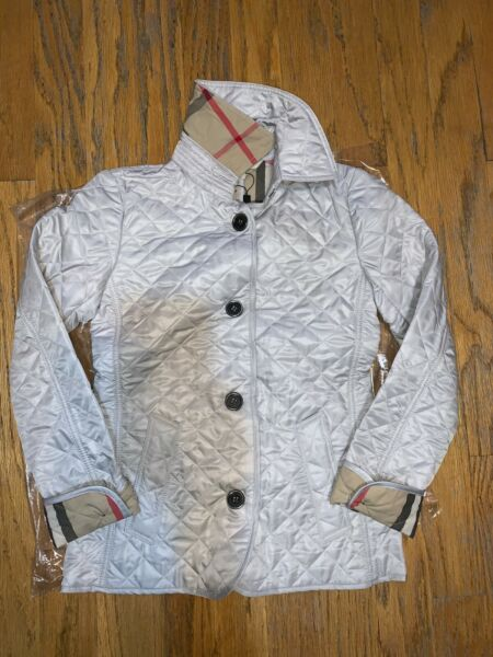 Burberry brit women#x27;s light grey copford diamond quilted jacket size xssmlxl $380.00