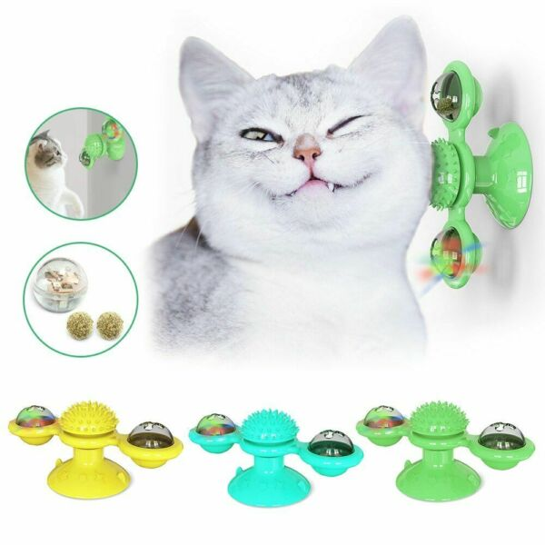 Cat Turning Windmill Turntable Tickle Toy Scratch Hair Brush Pet Accessories US $9.99