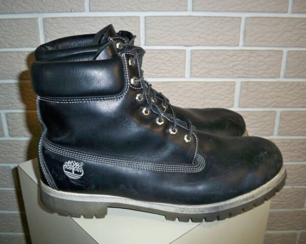Vintage Timberland Black Leather Hiking Ankle Boots Size 14 $64.95