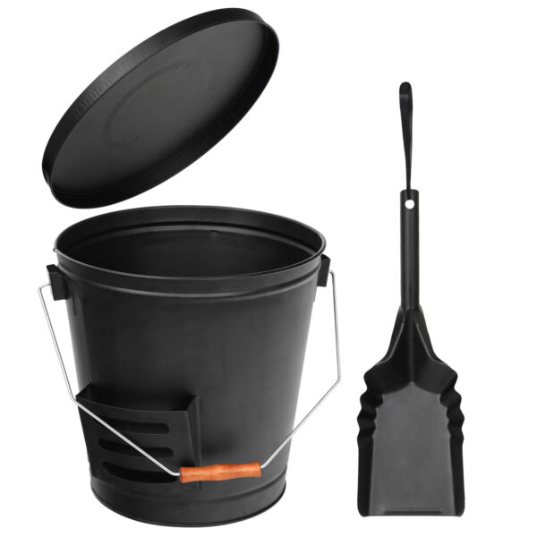 Black Fireplace Metal Hot Ash Covered Fireproof Bucket with Lid and Shovel