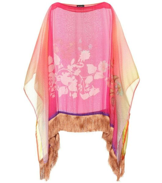 Etro Milano Top Poncho Silk Pink Uni One Size With Fringe Trims Made In Italy $350.00