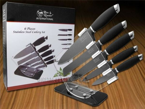 Hen amp; Rooster 6 Piece Kitchen Knife Set Black Non Stick HRI 037