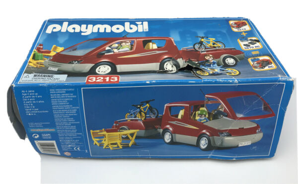 PLAYMOBIL 3213 Red SUV Family Trailer Bike Camping Vacation RARE NEW in Open Box $62.99