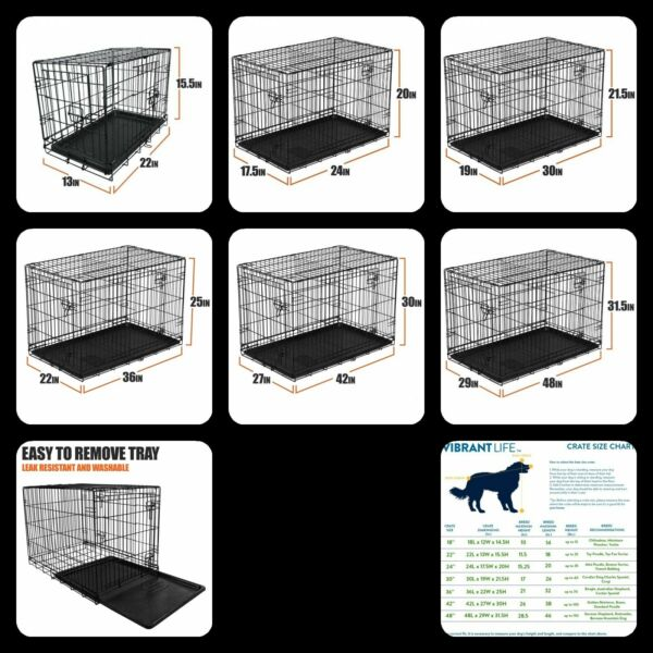 Dog Crate Kennel Folding Pet Cage Metal Double Door Tray Pan W Divider $70.61