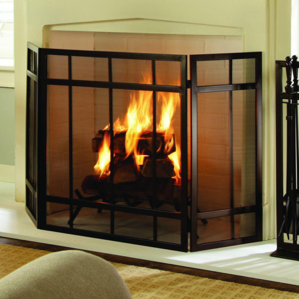 3 Panel Fireplace Screen Black Mission Style Hearth Cover Metal Steel Fire