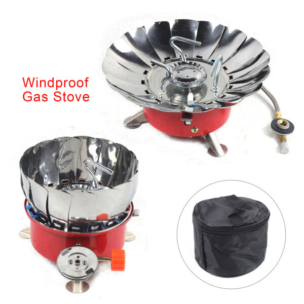 Windproof Camping Stove Butane Gas Burner Outdoor Hike Picnic Stove Collapsible