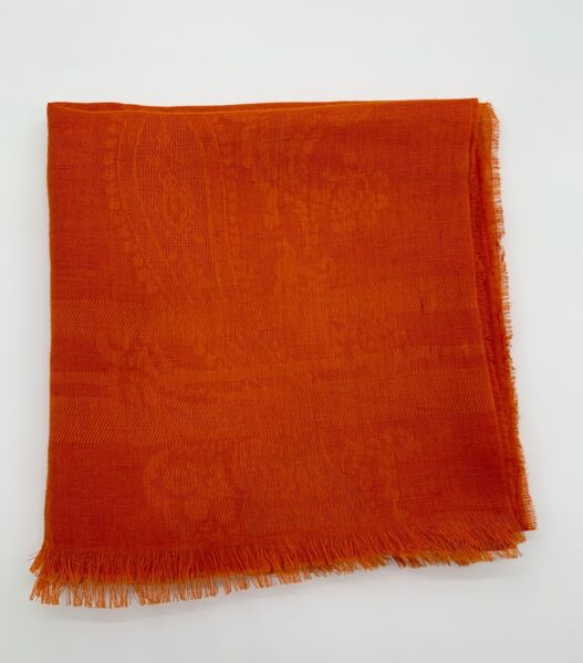 Etro Scarf Oblong Orange Cotton Paisley Print 19quot; x 78quot; $125.00