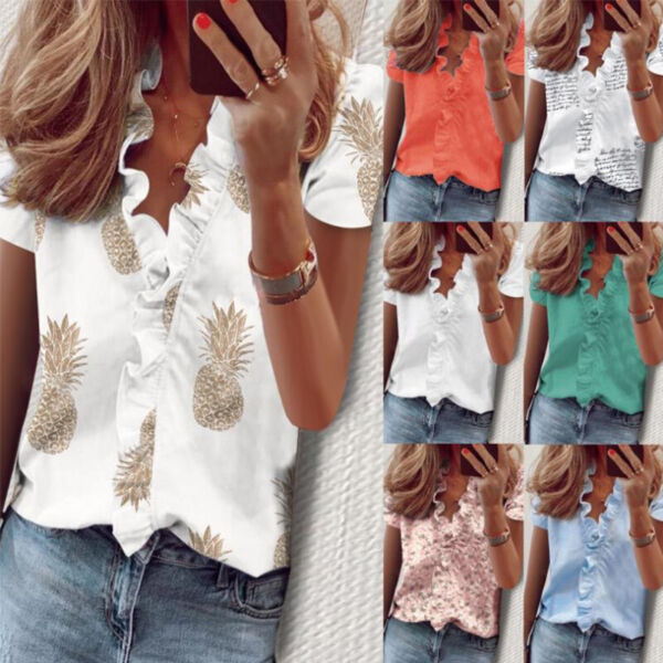 Women Summer Short Sleeve Floral Lace Print V Neck Blouse Casual Loose T Shirt $14.34