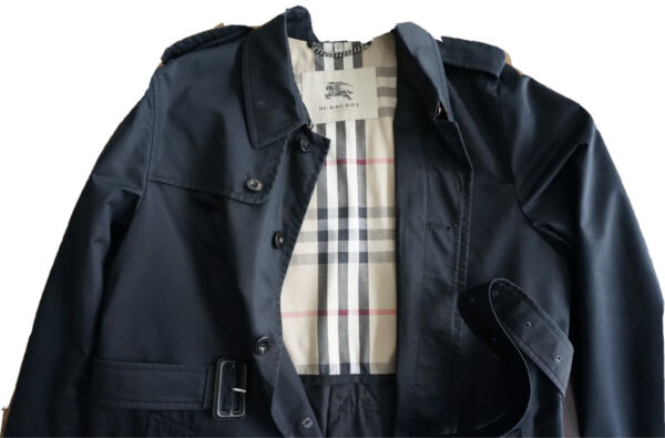 Mens Authentic Black Burberry Trench Coat Size 56 $450.00