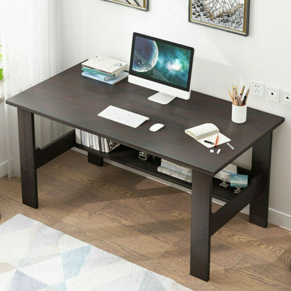Study Computer Desk PC Laptop Table Dorm Workstation Wood Home Office with Shelf