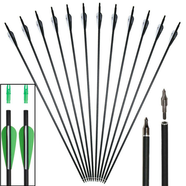 12pc 31quot; Carbon Arrows SP500 Screw Tips for Recurve Compound Bow Archery Hunting $27.99