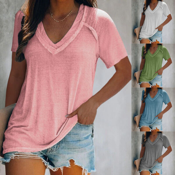 Summer Women V Neck Short Sleeve T Shirt Casual Tunic Top Loose Fit Solid Blouse $14.34