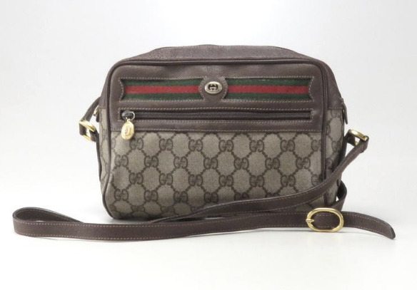 Authentic GUCCI Web Sherry Line Shoulder Bag GG PVC Leather Brown 21*16*6.5cm