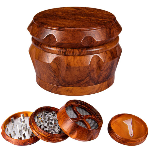 2.5quot; Tobacco Herb Grinder Large 4 Piece Metal Smoke Spice Crusher Magnetic Lid