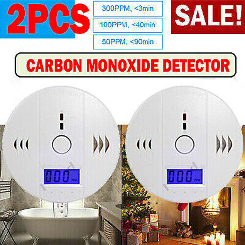 2pcs CO Carbon Monoxide Detector LCD Gas Audio Alarm High Warning Alert Security $18.39