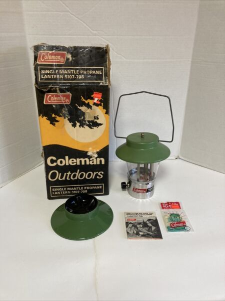 Vintage 1972 Coleman Single Mantle Propane Lantern 5107 708 with Box and Manual