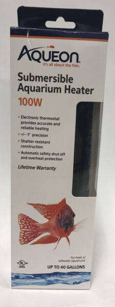 NEW Aqueon Submersible Aquarium Heater 100w Up to 40 Gallons Fresh Saltwater $16.00
