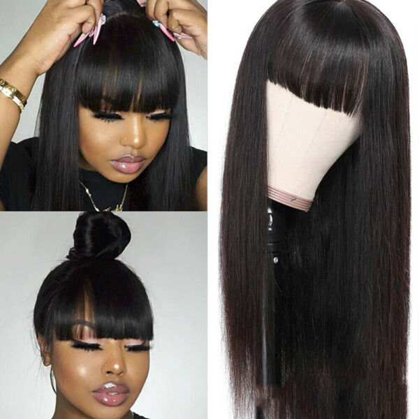 Women Synthetic Hair Wig Full Neat Bangs No Lace Wig Heat Safe Long Black Soft