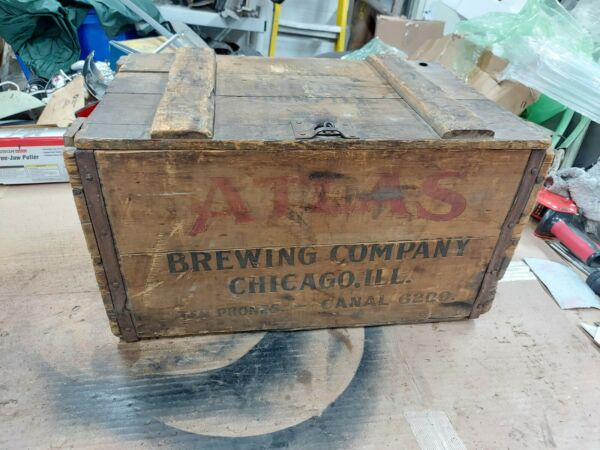 Vintage Wood Beer Crate Atlas Prager Brewing Co Chicago Illinois Brewery Box