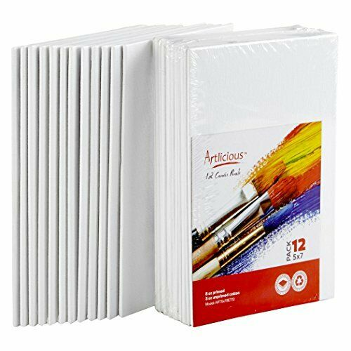 Canvas Panels Artist Canvas Boards For Painting Oils Acrylics Cotton 12 Pack New
