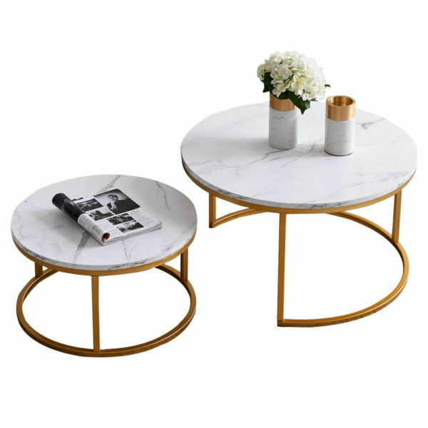 2Pcs Nesting Coffee Table Sets Golden Metal Frame with Marble Color Circle Table