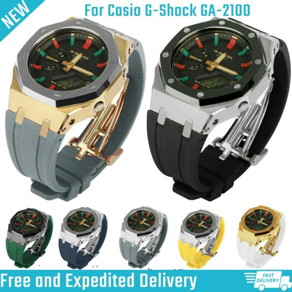 Bezel Metal and Rubber Strap Watchband For Casio G Shock GA2100 Third Generation