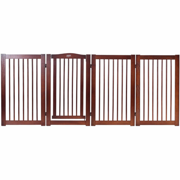 36quot; Configurable Folding Free Standing 4 Panel Wood Pet Dog Safety Fence w Gate $119.95