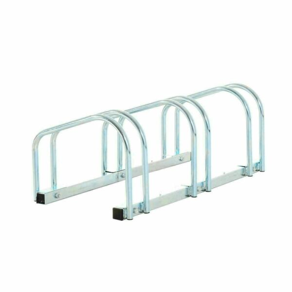 3 Bike Floor Bike Stand Silver Bicycle Rack Stand Parking Mounted Holder $41.00