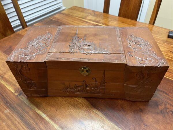 Vintage Oriental Large Wood 2 Drawer Jewelry Box Chest Hand Carved TD