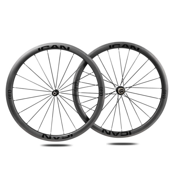 ICAN Alpha 40C Carbon Road Bike Wheelset 25mm Width 700C Clincher Tubeless Ready $475.00