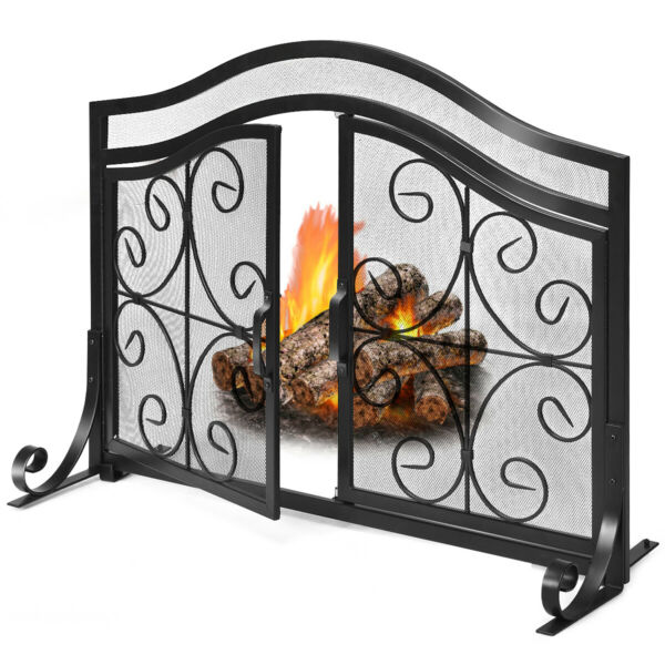 Fireplace Screen with Hinged Magnetic Two Doors Flat Guard Free Standing Black