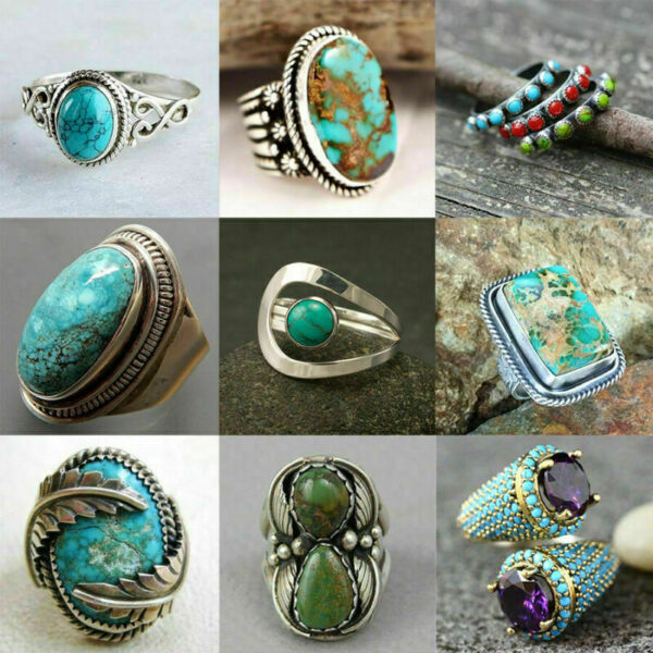 925 Silver Turquoise Rings Women Fashion Wedding Engagement Jewelry Gift Sz 6 10