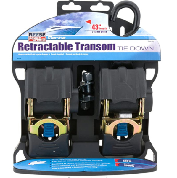 2 Pack Marine Retractable Transom Tie Down 2500lbs Boat Trailer 2 inch Strap 43quot; $47.11